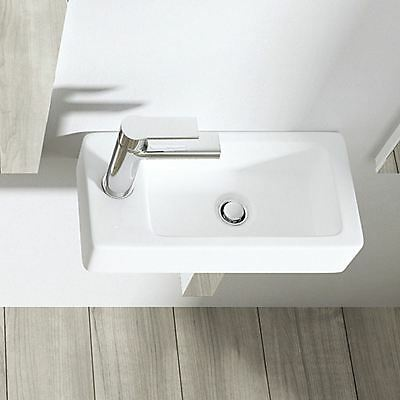Cloakroom Wall Hung CounterTop White Ceramic Small Compact Basin Sink Left Hand