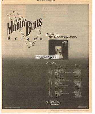 1978 The Moody Blues Octave Vtg Album Promo Print Ad with tour dates