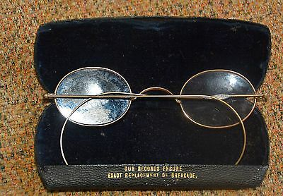 Vintage Childs Gold coloured Spectacles With Original Case.