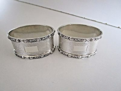 Pair Sterling Silver Napkin Rings..Celtic Borders..Birmingham 1955..