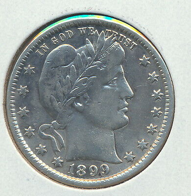 U.S.A BARBER QUARTER 1899 .900 SILVER COIN Good Collectable Grade