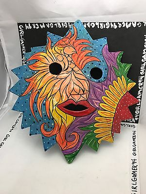 Sun Abstract Style Artisan Hand Painted Paper Mache Souvenir Art Mask Home Decor