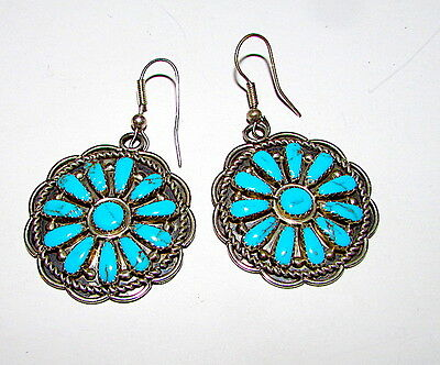 Navajo Sterling Silver Turquoise Cluster Statement Earrings Benjamin Piaso