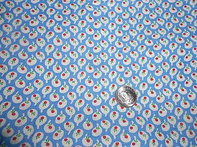 VINTAGE 40'sPRETTY TINY FRUIT RED CHERRY BUBBLE  FEED SACK COTTON FABRIC UNUSED