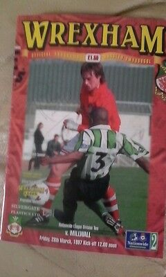 Wrexham v Millwall 1996/97 very good condition league division 2