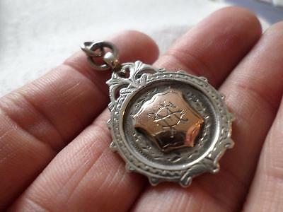 Antique Vintage English Hmark Sterling Silver Pocket Watch Chain Fob Medal 1913