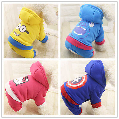 Cartoon Cotton Pet Dog Puppy Cat Winter Warm Coat Clothes Apparel Jumpsuit  New