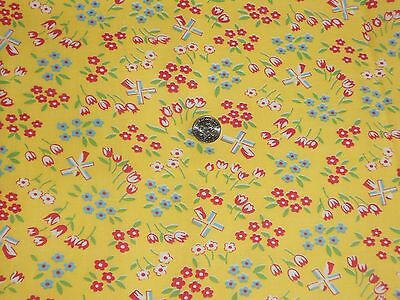 VINTAGE 40's GORGEOUS TINY WIND MILL  YELLOW FEED SACK COTTON FABRIC UNUSED