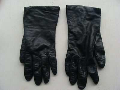 NORDSTROM Women's Black Leather Gloves with Lining Size 8