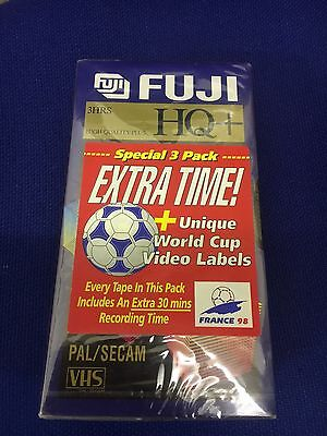 New & Sealed - FUJI 180 - HQ+ 3 Hours TV Blank VHS Video Tapes x 3