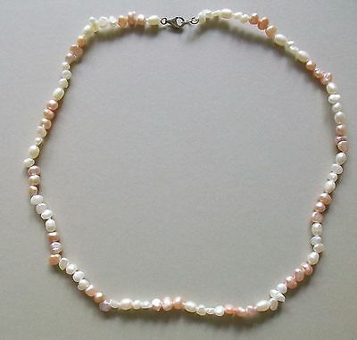 Pink And White Cultured Misshaped  Pearl Necklace 17 Inches