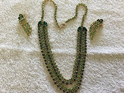 Vintage Shaded Green Rhinestone Swag Necklace & Clip Earrings c1970's