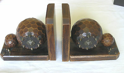 Vintage Art Deco Style Wood & Brass Bookends Faceted Round Sphere French