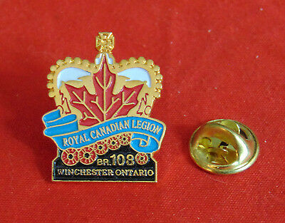 Royal Canadian Legion Branch 108 Winchester Ontarion Canada Poppy Pin Lapel