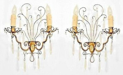 Pair of French 1940s Gilt Metal Wall Sconces