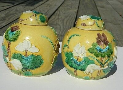 Antique Chinese Yellow Porcelain Jars; Pair
