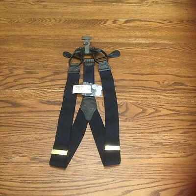 NWT Men's Suspenders. Men's Warehouse. Navy Blue. Leather ends. Made in England