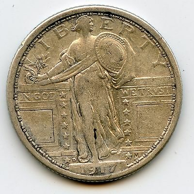 Genuine 1917-D Type 1 Silver Standing Liberty 25c | VF Details