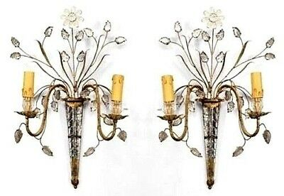 Similar Pair of French 1940s Glass & Gilt Metal 2 Arm Wall Sconces