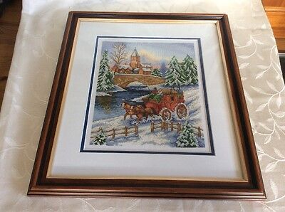 Tapestry Picture Framed Stage Coach  Horses Snow christmas scene