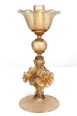 Italian 1940s Murano Gold Dusted Blown Glass Compote