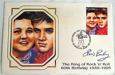 Elvis Presley Gambia 60Th Birthday Elvis & Gladys Portrait Stamp First Day Cover