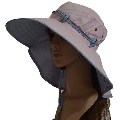 Pink Woman Wide Brim UV Protection Sun Hats Outdoor Folding Hiking Fishing Caps