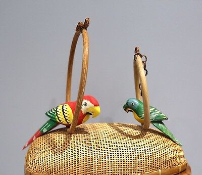 Vintage 1970s Wooden Hand Painted Parrots Birds On Hoops For Birdcage Decor