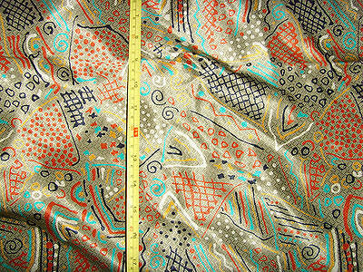 """45x180"""" tan unique art deco reproduction print rayon fabric material sewing chic"""