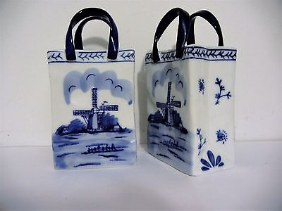 Vintage Holland Delft Blue Windmill Shopping Bags Lot Of Two Ceramic Porcelain