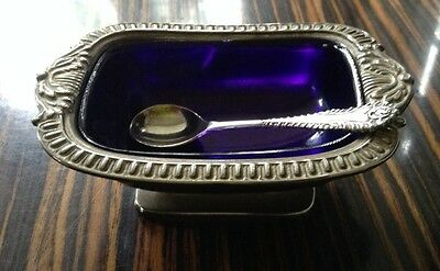 Vintage/Antique silver plate Mustard with cobalt blue lining + spoon English
