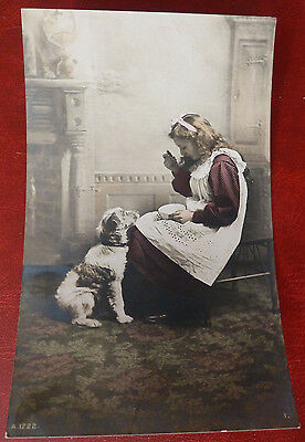 Vintage Dog Postcard- Young Girl and Terrier Type