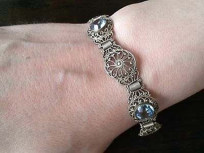 Russian 84 silver Bracelet with crystals of aquamarin Romanov dynasty period.
