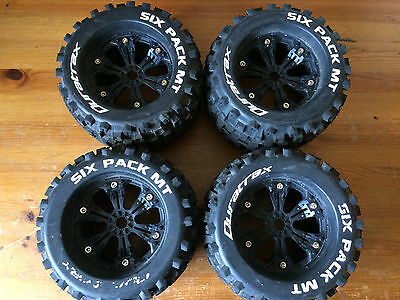 Duratrax Six Pack MT 3.8  Monster Truck Wheels & Tyres 17mm Hex Mint Used