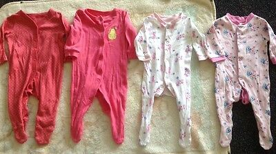 Baby Girl 0-3 Months Bundle Babygrows Rompers Pink