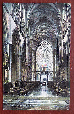 "Vintage Postcard Salisbury Cathedral Choir West "" Christian Novels"""