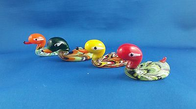 Collectible Blown Glass Sculptured Duck - Lot of 4