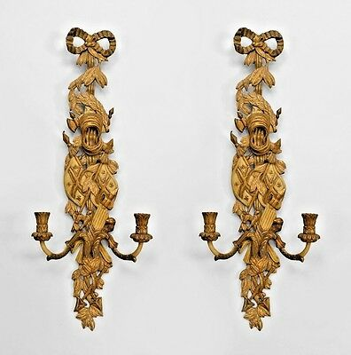 Pair of French Louis XV Style (Modern) Gilt and Beige Painted 2 Arm Wall Sconces
