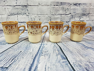 Fosters Pottery Honeycomb Set of 4 Shabby Chic Honey Comb Vintage Retro Mugs