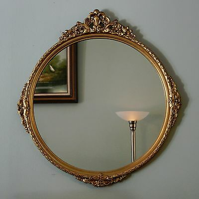 """Vtg 26"""" Round Wooden Gilt Gold Hollywood Regency Neoclassical Wood Wall Mirror"""