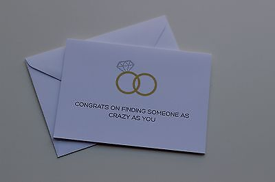 Wedding Greeting Card Congrats on Finding Someone as Crazy as You