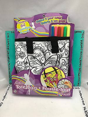Fashion Tote Bag/Purse- Colour It Your Way! Designer Girl - Kids Craft Project!