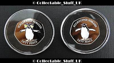 2017 Falkland Islands 50p Southern & Northern Rockhopper Penguin Coins + COA