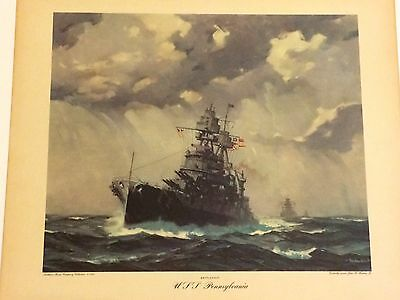 "Gordon Grant - WW2 USS Pennsylvania (BB-38) Battleship - Colored Print 20"" x 17"""