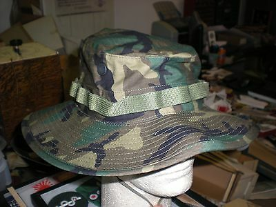 Us Army Woodland  Bdu Camo Boonie Hat - New Production - Size 7 1/2 - Us Made.