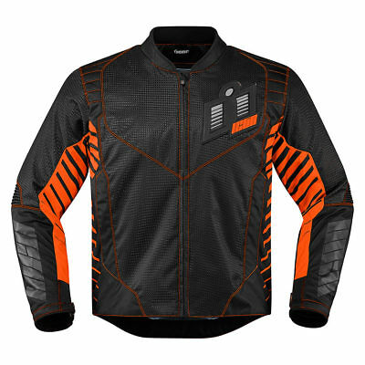 Icon Wireform Sports Textile Motorcycle Motorbike Jacket Orange | All Sizes