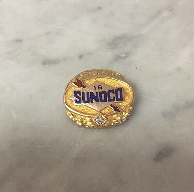 10K Yellow Gold Sunoco Safe Driver Pin VINTAGE Gas Oil Service 1 Stone