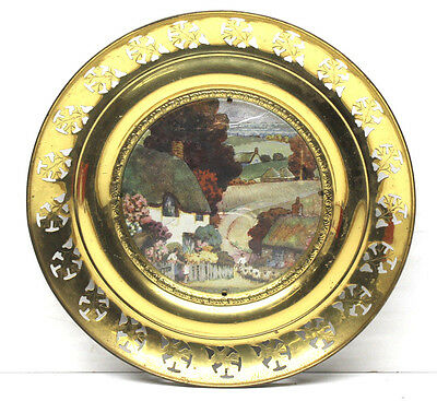 """Vintage Solid Brass Foil Art Wall Hanging 3D Country Scene 11"""" Dia. Made England"""
