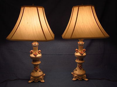 Pair of Vintage Porcelain Table Lamps with Capodimonte like Porcelain Roses