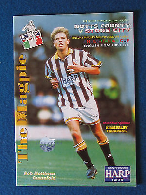 Notts County v Stoke City - 24/1/95- Anglo Italian Cup - English Final Programme